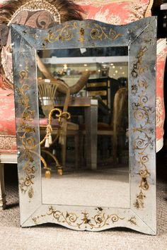 Pair of Eglomise Glass Mirrors image 6