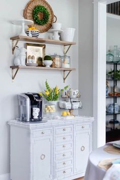 Coffee bar decor inspiration. DIY Coffee Station in the kitchen.