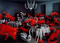 i have always loved sandy skoglund's oddly inspired environments, like falling through the rabbit hole and coming out in a completely nonsensical, yet strangely beautiful world