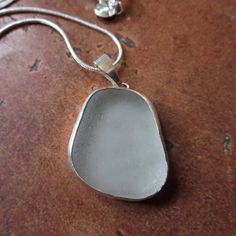 Frosted White Sea Glass Bezel Set Necklace