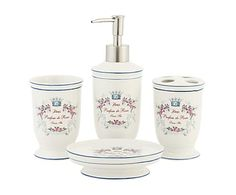 Set de baño en cerámica Parfum de roses, blanco - 4 piezas