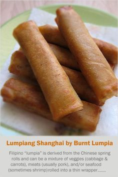 Lumpia (Filipino Spring Rolls) recipe - What makes Lumpiang Shanghai unique from other fried lumpias is that it is typically filled with few vegetables, if any at all, and comprised mostly of seasoned ground pork and served with a sweet and sour dipping sauce. | rasamalaysia.com