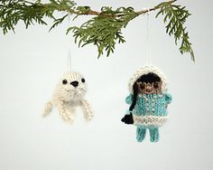 Inuk and Baby Seal by Barbara Prime - This pattern is available for free. For more information, see: http://blog.fuzzymitten.com/2012/11/inuk-and-baby-seal.html