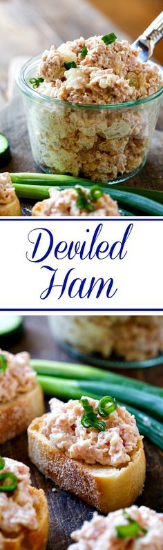 Deviled Ham- a great way to use up leftover Easter ham. - Ham - Ideas of Ham Easter Dinner Recipes, Brunch Recipes, Appetizer Recipes, Mini Appetizers, Leftover Ham Recipes, Leftovers Recipes, Pork Recipes, Cooking Recipes, Salad Recipes