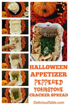 and Happy Halloween…Peppered Tombstone Cracker Spread is a spooky and easy Halloween appetizer to serve with assorted crackers. A bit hit at Halloween parties! Appetizers For A Crowd, Halloween Appetizers, Halloween Food For Party, Easy Halloween, Halloween Recipe, Easy Dinner Recipes, Appetizer Recipes, Easy Recipes, Thanksgiving Recipes