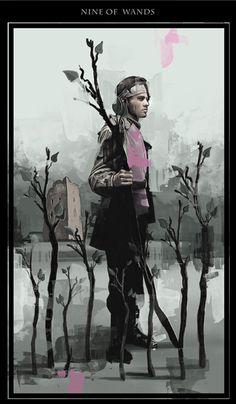 nine of wands. darknesstarot.com #wands #tarot #tonydimauroart #darknesstarot…