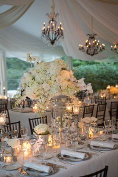 Classic Tented Estate Wedding - Style Me Pretty Romantic Weddings, Elegant Wedding, Floral Wedding, Perfect Wedding, Wedding Flowers, Magical Wedding, Unique Weddings, Party Decoration, Wedding Table Decorations