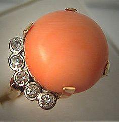 My dream engagement ring (hint, hint)!  Platinum Vintage Deco Antique Coral Diamond Ring 18K