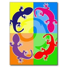 Summer gecko pop postcards
