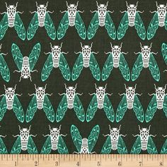 Cotton + Steel Raindrop Cicada Song Forest from @fabricdotcom  Designed by Rashida Coleman-Hale for Cotton + Steel, this cotton print fabric is perfect for quilting, apparel and home decor accents. Colors include forest green, mint and white.