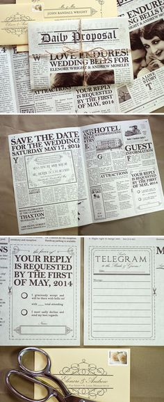 Vintage Newspaper Invitation - creative and innovative wedding invitations