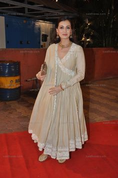 Dia Mirza wore a nude colored traditional angrakha by Sameer Patel at Wedding Ceremony of Udita Goswami and Mohit Suri at the ISKCON Temple Hall in Juhu, Mumbai on Tuesday, January 29.