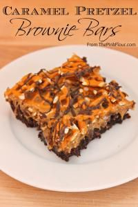 Caramel Pretzel Brownie Bars