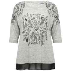 M&Co Plus Feather Print Georgette Hem Top ($37) ❤ liked on Polyvore featuring tops, grey, plus size, drop shoulder tops, long sleeve tops, grey long sleeve top, scoopneck top and scoop neck top