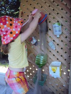 Outdoor play - sand wall for sand box, or a water wall! Perfect!