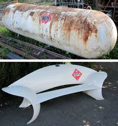 Dirty old gas tank recycled into a bench! Has a bit of a yacht / nautical style.