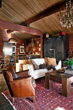 The perfect place to drink good bourbon & read. Masculine Interior, Log Home Decorating, Cozy Cabin, Winter Cabin, Winter House, Cabins And Cottages, Log Cabins, Cabin Interiors, Mountain Homes