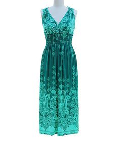 Look what I found on #zulily! Teal & Aqua Paisley Surplice Dress by Peach Couture #zulilyfinds