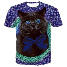 Unisex Cats T-shirt 3d Print Meow Star Cat Hip Hop Cartoon TShirts Summer Tops Tees Fashion