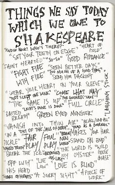 Famous Shakespearean quotes.