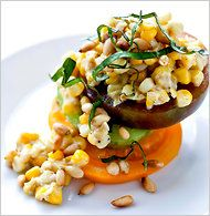 Creamed Corn with Gorgonzola, Tomatoes and Pine Nuts