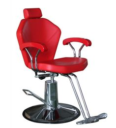 Red Sloped Shoulder Reclining Chair. Sleek contemporary design compliments any Salon or Barber Shop decor.  This truly heavy duty chair can hold up to 400 pounds.