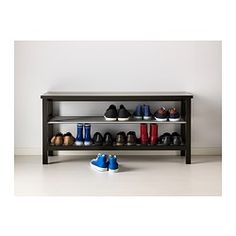 "TJUSIG Bench with shoe storage - black - IKEA. For the entryway foyer. Measures 42 1/1x19 5/8"" — hopefully, it fits."