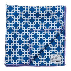 Lexington Abstract Silk Pocket Square, Blue / White