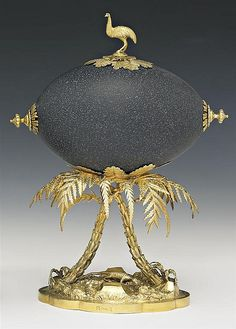 A fine silver gilt mounted emu egg by William Edwards, Melbourne c. Emu Egg, Fabrege Eggs, Incredible Eggs, Faberge Jewelry, Imperial Russia, Egg Art, Egg Shape, Russian Art, Saint Petersburg