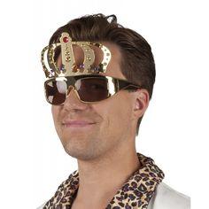 Koningsdag zonnebril met kroon. Grappige goudkleurige zonnebril met kroon. Leuk afgewerkt met gekleurde steentjes. UV400 bescherming. Geschikt voor volwassenen.