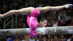 Beautiful beam pose by Laurie Hernandez at the 2016 Olympic Trials, San Jose.