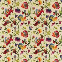Brightly colored, floral pattern on white background.