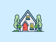 Home Illustration Tiny Ideas For 2019 Outline Illustration, Flat Design Illustration, House Illustration, Simple Illustration, Web Design, Line Design, Icon Design, Vector Design, House Design