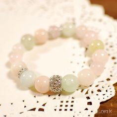 Natural Gemstone Bracelet , Bangle - Natural Aquamarine, Rose quartz gemstone