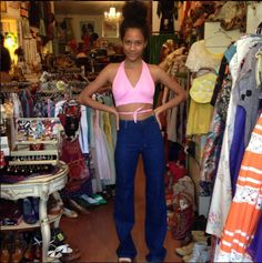 Djali looks radiant in her new halter and Candies jeans that fit her to a tee she just picked up at the shop!