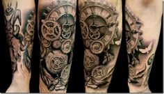 More Cool Steampunk Tattoo Designs ❖❖❖ ❖❖❖ Steampunk is a kind of science fiction, which can be applied to any subject you want. She is mysterious and unique to retro-Victorian to feel about it. Steampunk Tattoo Sleeve, Steampunk Tattoo Design, Trendy Tattoos, Tattoos For Guys, Cool Tattoos, Awesome Tattoos, Clock Tattoo Design, Tattoo Designs, Tattoo Ideas