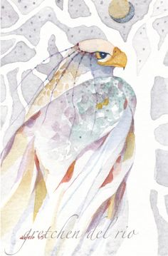 ACEO ORIGINAL watercolor painting Del Rio 'SILVER HAWK' faerie spirit totem #MiniatureACEOArtCard  He carries messages from faerie to humans of hope, encouragement, wisdom, or maybe just affirmation that they are following the right path.
