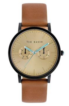 Free shipping and returns on Ted Baker London Multifunction Leather Strap Watch, 40mm at Nordstrom.com. A subdial duo lends day and date functions to a cleanly styled watch brightened ever so slightly with colored hands.