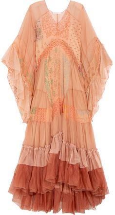Chloé Ruffled Printed Silk-mousseline And Tulle Maxi Dress - Blush - ShopStyle Red Boho Dress, Red Slip Dress, Red Ruffle Dress, Polka Dot Maxi Dresses, Silk Dress, Bohemian Dresses, Tulle Dress, Cl Fashion, Fasion