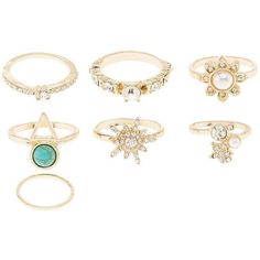 Charlotte Russe Embellished Rings - 7 Pack (89 ARS) ❤ liked on Polyvore featuring jewelry, rings, gold, cluster rings, charlotte russe rings, mid finger rings, bohemian style rings and boho rings