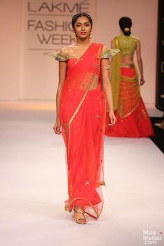 interesting choli on this sari by Shilpa Reddy, LFW 2013