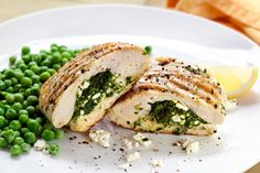 Spinach and Ricotta Stuffed Chicken Breast Recipe on Yummly Ricotta Stuffed Chicken, Spinach Artichoke Chicken, Feta Chicken, Spinach And Feta, Baby Spinach, Artichoke Dip, Grilled Chicken, Healthy Chicken, Chopped Spinach