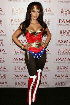 Kim Kardashian as Wonder Woman serving up Halloween inspo.