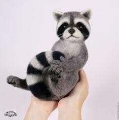 Needle felted toy Raccoon / Купить Енотик (валяная игрушка, енот валяный, валяние) - Валяние, валяная игрушка, игрушка валяная