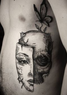 50 life death tattoo designs for men - masculine ink ideas Tattoo Tod, Mask Tattoo, Piercing Tattoo, Piercings, Skull Tattoos, Black Tattoos, Body Art Tattoos, Cool Tattoos, Tatoos