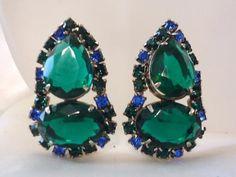 Vintage Juliana Earrings Huge Green Crystals Blue Rhinestone Runway Rhodium #Juliana #Cluster