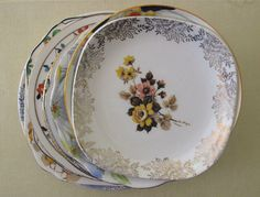 Lucy Patterson, vintage, vintage plate, plates, collections, gold, flowers