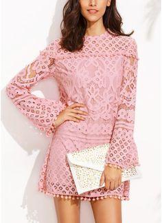 Women Elegant Sheer Lace Pom Trims O Neck Long Sleeve Lined Party Mini Dress