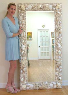 All White and Cream, Sea shell mirror. 6' x 3' http://WWW.ElegantShells.com