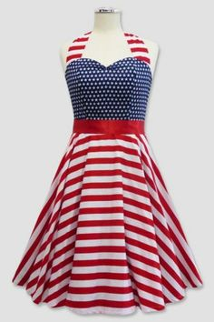 VINTAGE ROCKABILLY 50S USA AMERICAN FLAG PINUP PETTICOAT SWING PARTY DRESS XL